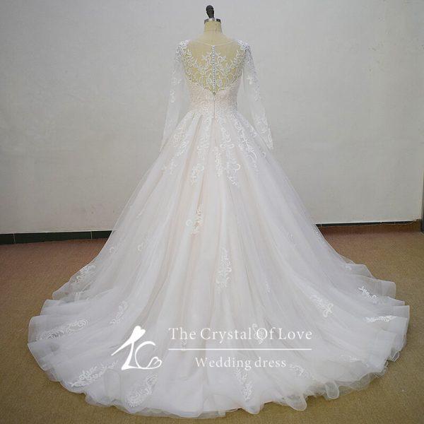 blush-wedding-dress-with-sleeves