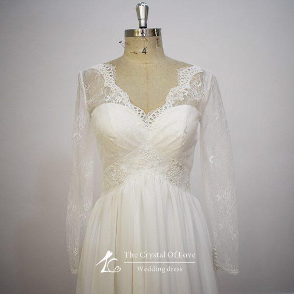 chiffon-wedding-dress-with-sleeves