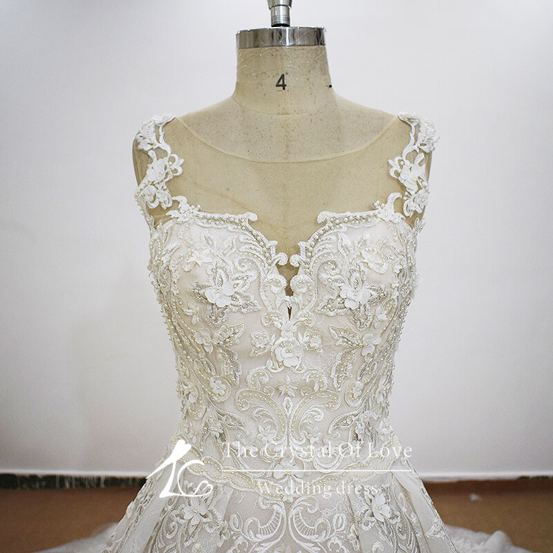 Cathedral Train Wedding Dress With Pearls And Lace |